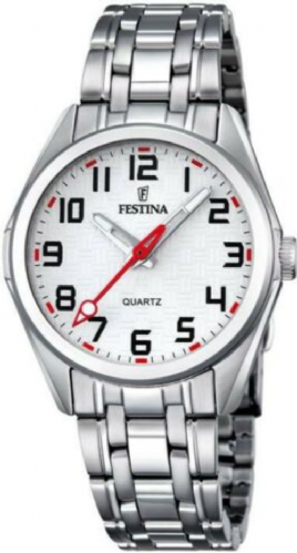F16903/1 Festina ladies stainless steel bracelet watch with a red hand